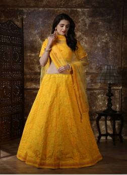 Yellow lakhnavi Pattern Silk Embroidered Lehenga Choli