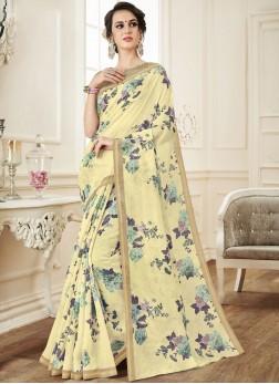 Yellow Linen Print Casual Saree