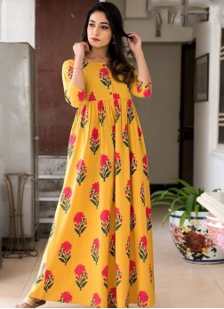 Yellow Party Muslin Trendy Gown
