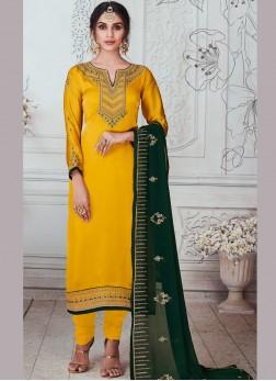 Yellow Sangeet Churidar Salwar Suit