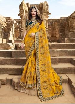 Yellow Satin Silk Designer Saree