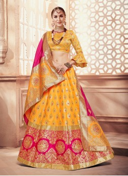 Yellow Weaving Designer Lehenga Choli
