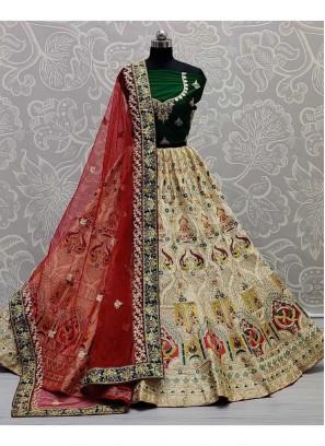 Zari Embroidery Silk Bridal Lehenga Choli In Off White And Green