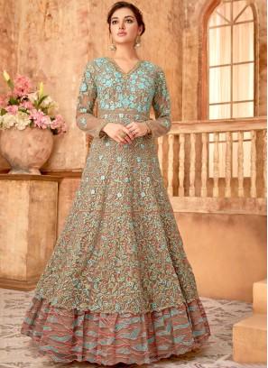 Zesty Embroidered Net Brown Anarkali Floor Length Suit