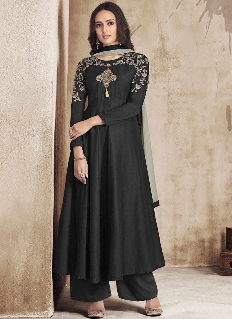 Absorbing Black Muslin Palazzo Designer Salwar Suit