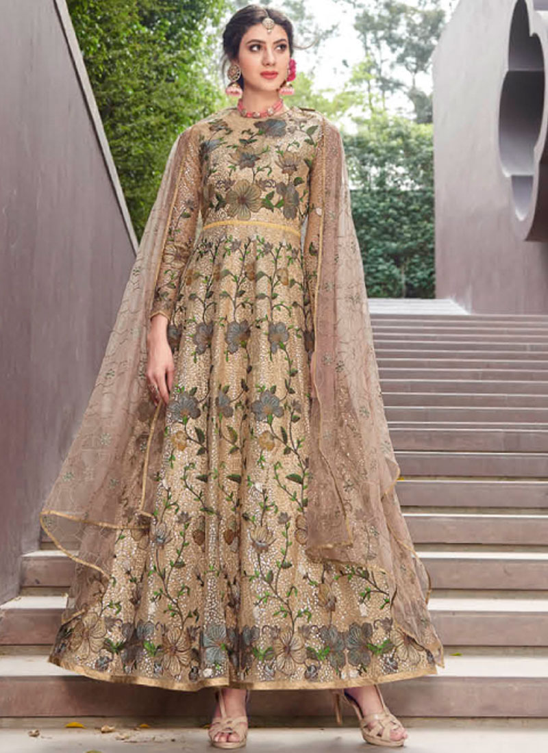 Absorbing Embroidered Net Gold Designer Gown