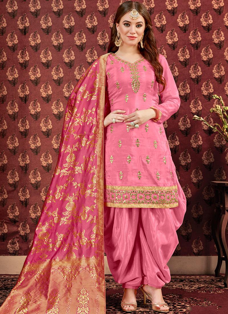 Absorbing Pink Festival Design for Punjabi Suit