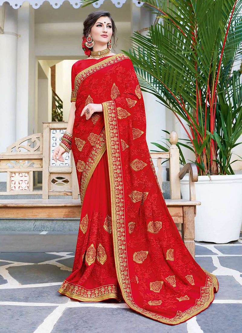 Adorable Red Faux Georgette Saree