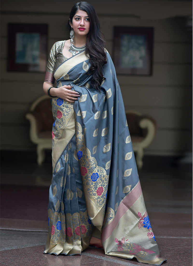 Adorning Weaving Art Silk Grey Designer Traditional Saree