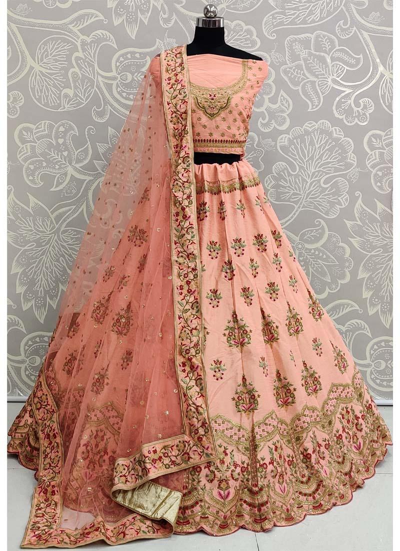 Aesthetic Multi Thread Embroidery and Sequins Touch Orange Wedding Lehenga Choli