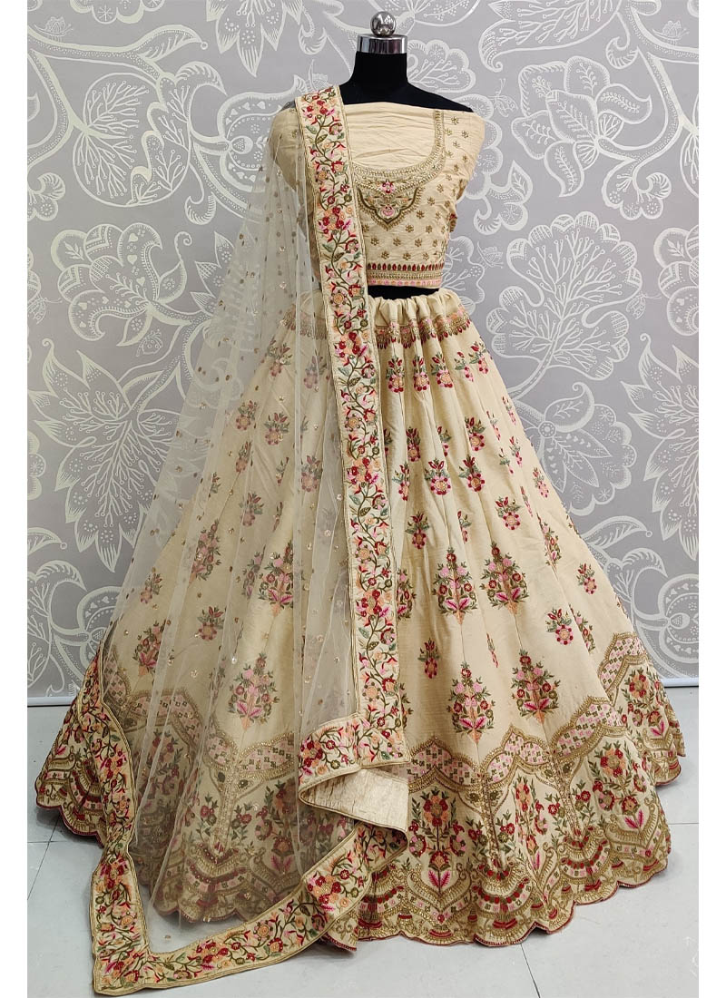 Aesthetic Multi Thread Embroidery and Sequins Touch Wheat Wedding Lehenga Choli