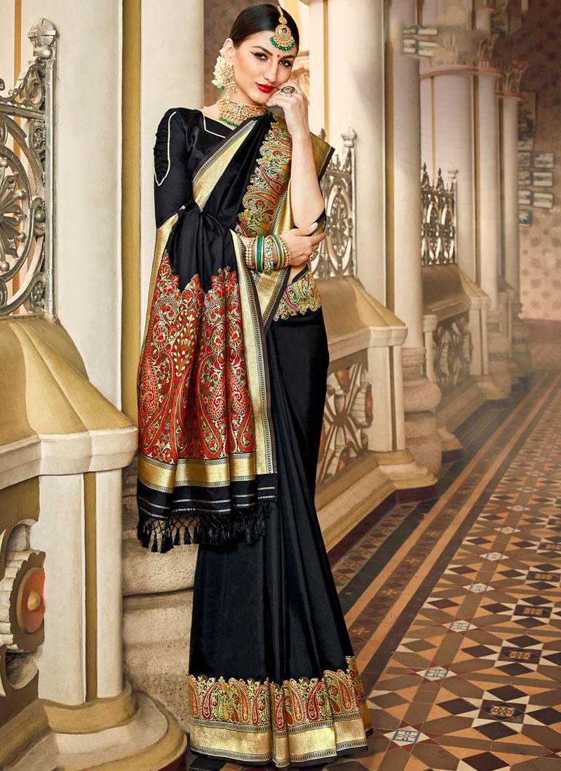 Affectionate Black Art Silk Classic Saree