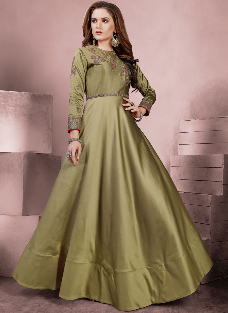 Affectionate Resham Tafeta Silk Readymade Gown