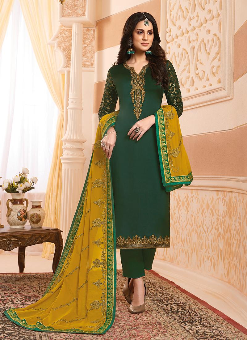 Alluring Georgette Satin Ceremonial Designer Suit