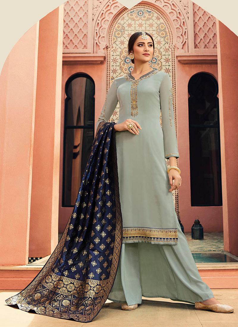 Amazing Blue Embroidered Designer Straight Salwar Kameez