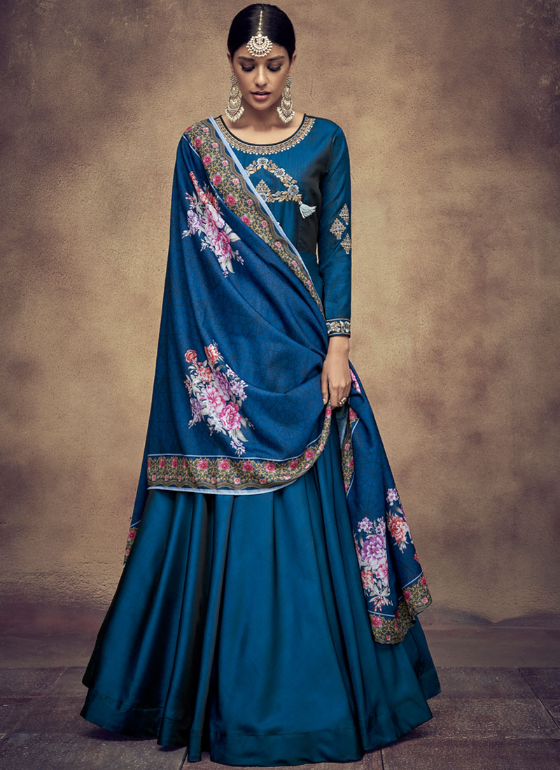 Amazing Embroidered Tafeta Silk Blue Readymade Anarkali Suit