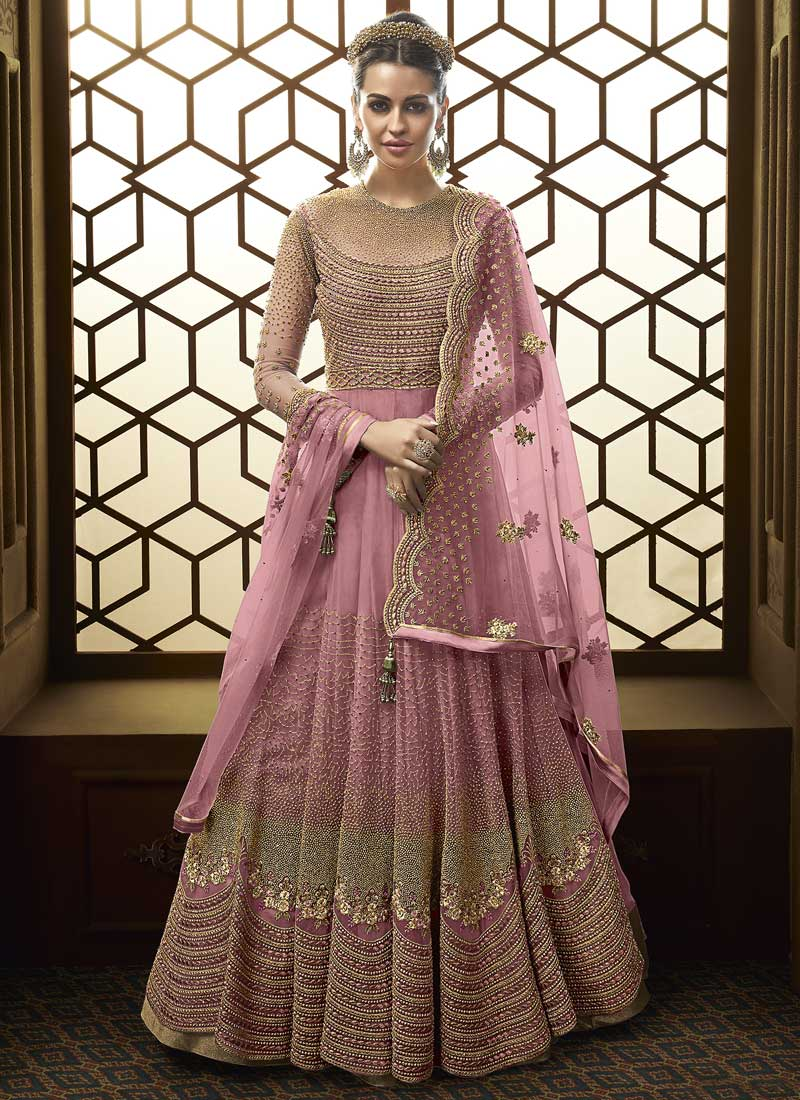 Amazing Lace Net Pink Floor Length Anarkali Suit
