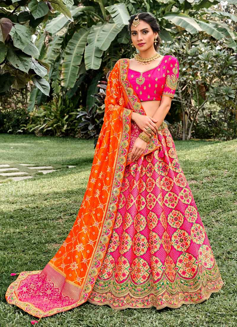 Amezing Hand Work Silk Lehenga Choli In Pink