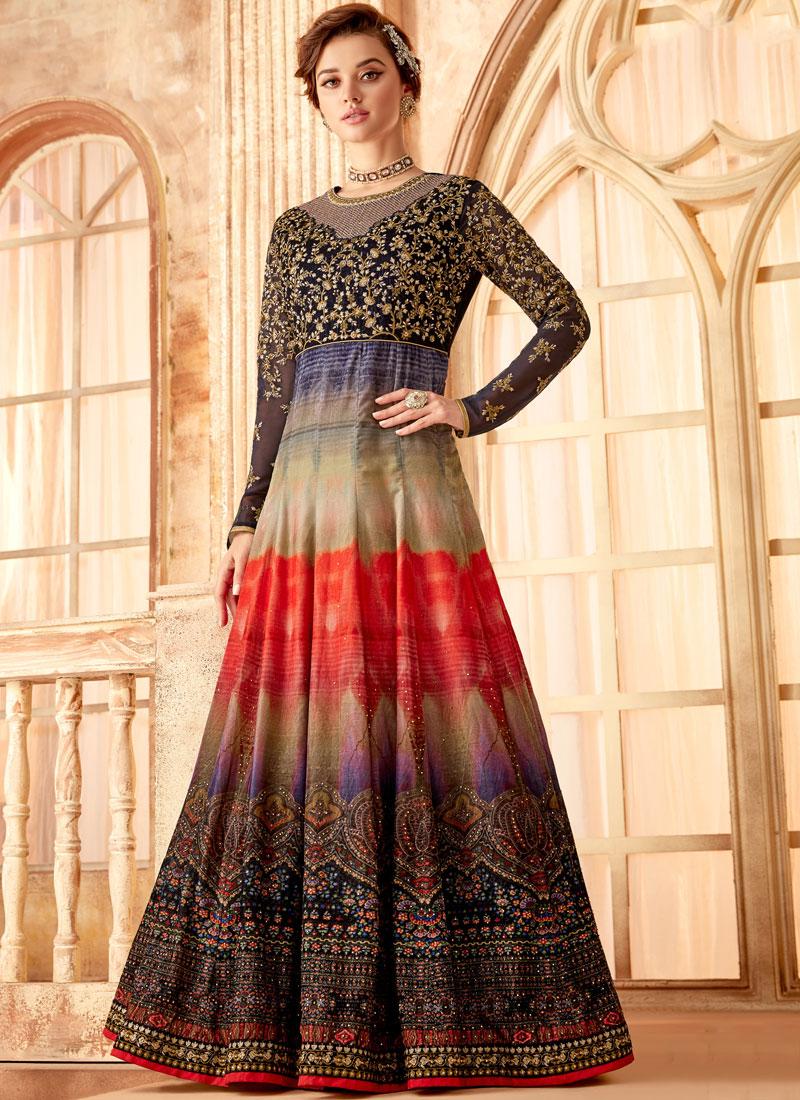 Anarkali Salwar Kameez Embroidered Velvet in Multi Colour