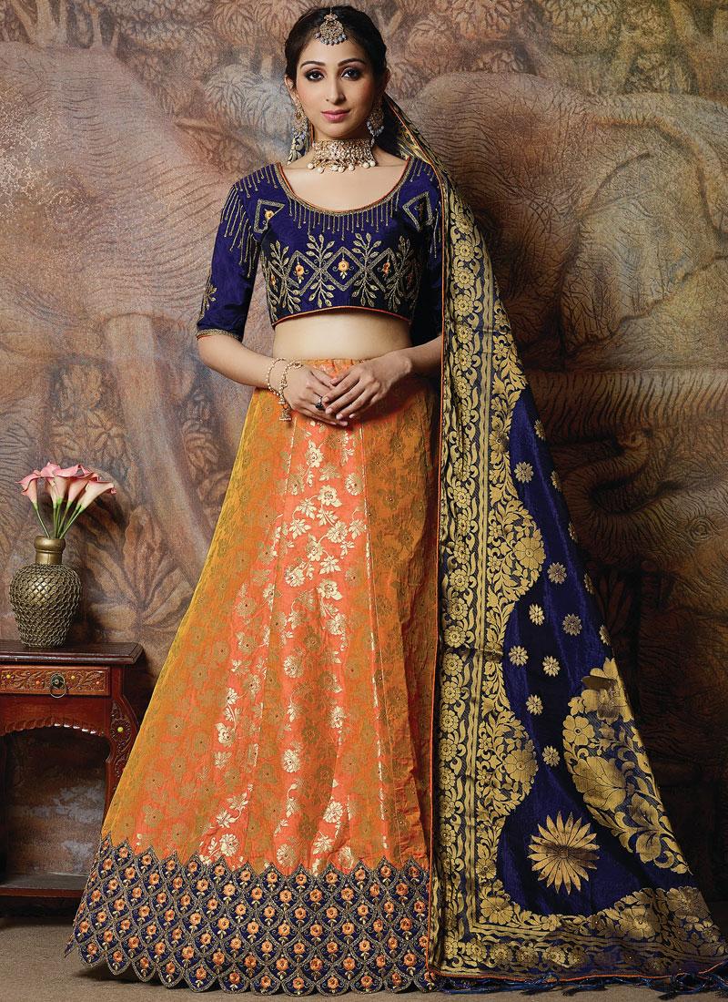 Angelic Silk Embroidered Designer Lehenga Choli in orange