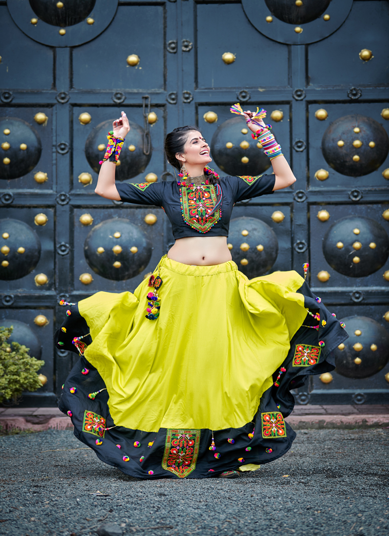 Appealing black and yellow navratri chaniyacholi