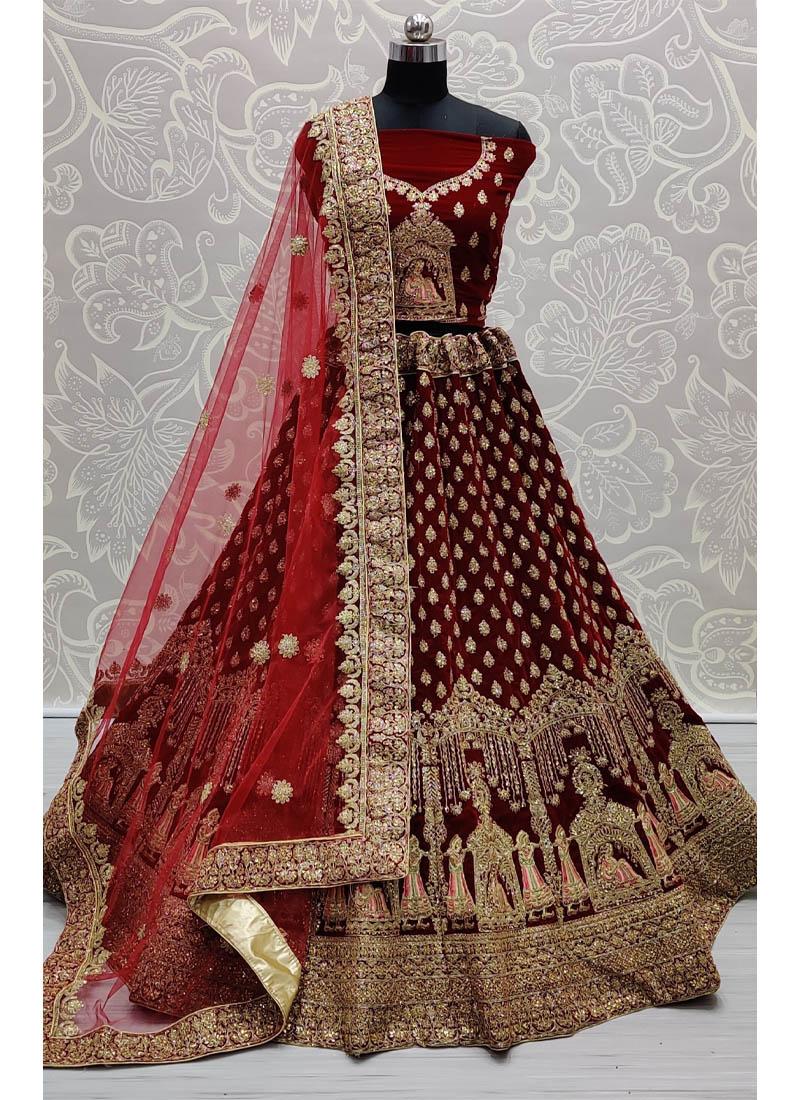 Appealing Maroon Bridal Lehenga Choli in Velvet with Heavy Dupatta