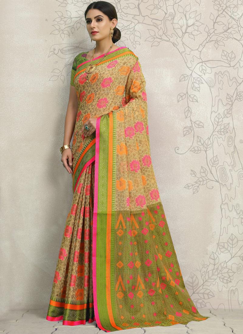 Aristocratic Beige Linen Classic Designer Saree