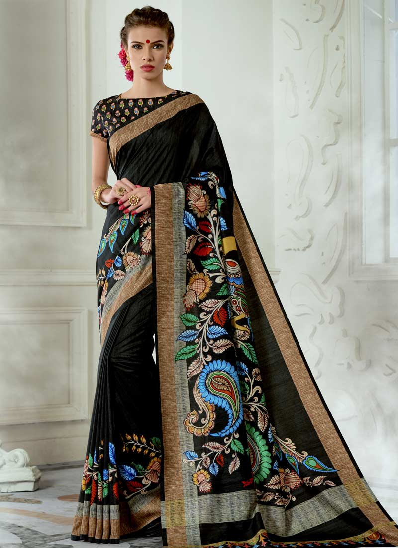Aristocratic Tussar Silk Digital Print Black Casual Saree