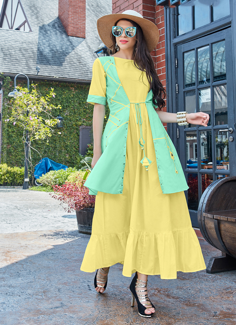 Arresting Cotton Yellow Plain Party Wear Kurti