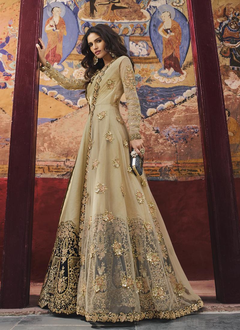 Art Silk Beige Embroidered Designer Salwar Kameez