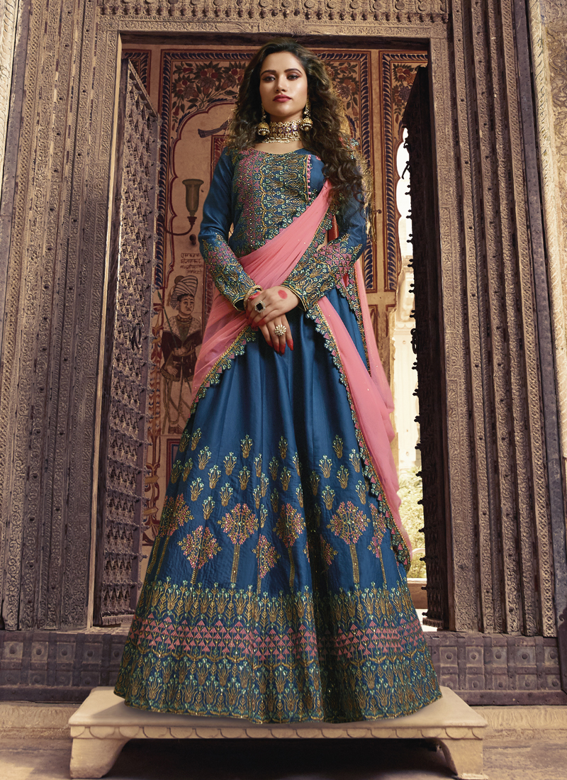 Art Silk Blue Stone Work Designer Lehenga Choli with dupatta blouse
