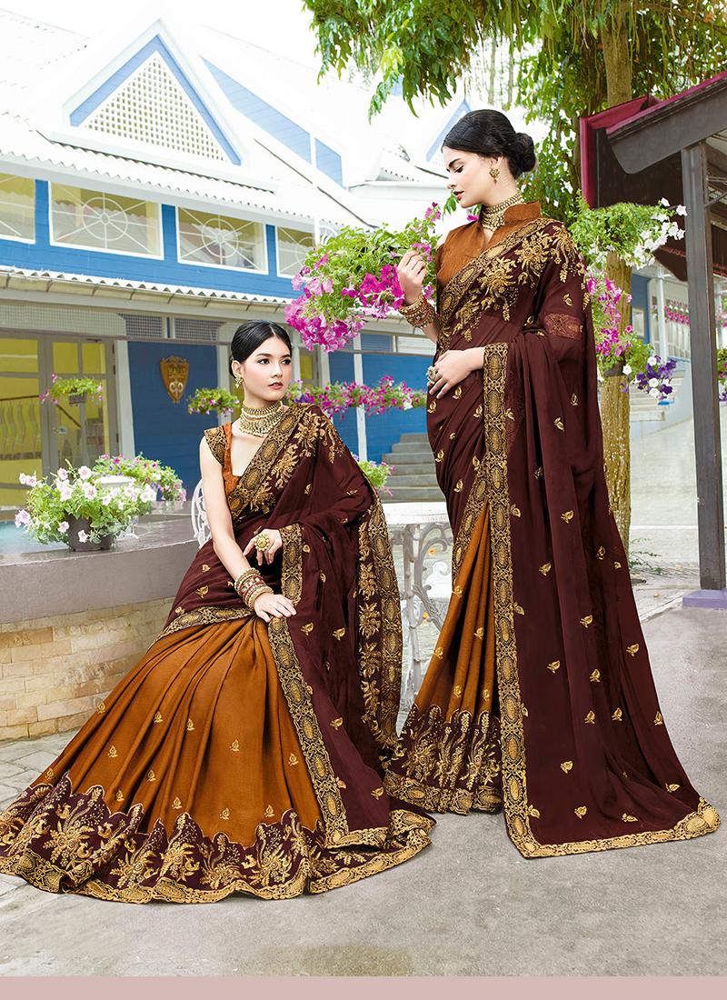 Art Silk Brown and Mustard Embroidered Designer Half N Half Saree