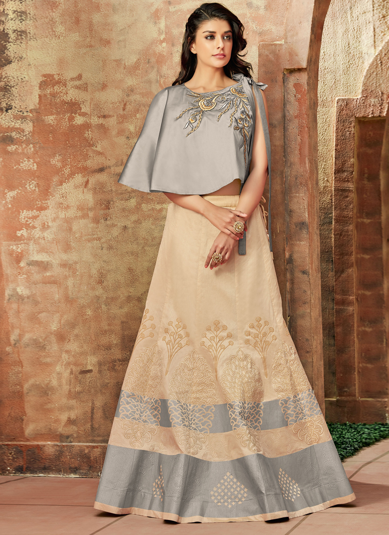 Art Silk Cream and Grey Lehenga Choli