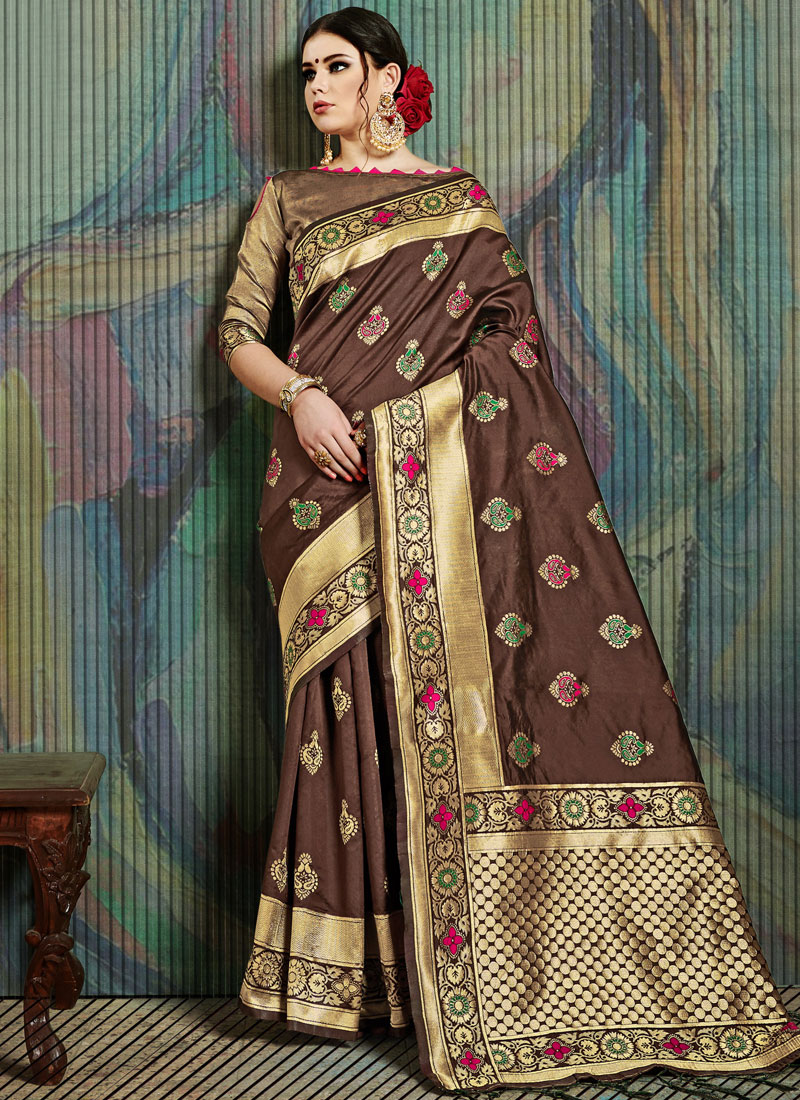 Art Silk Designer Traditional Saree in Brown