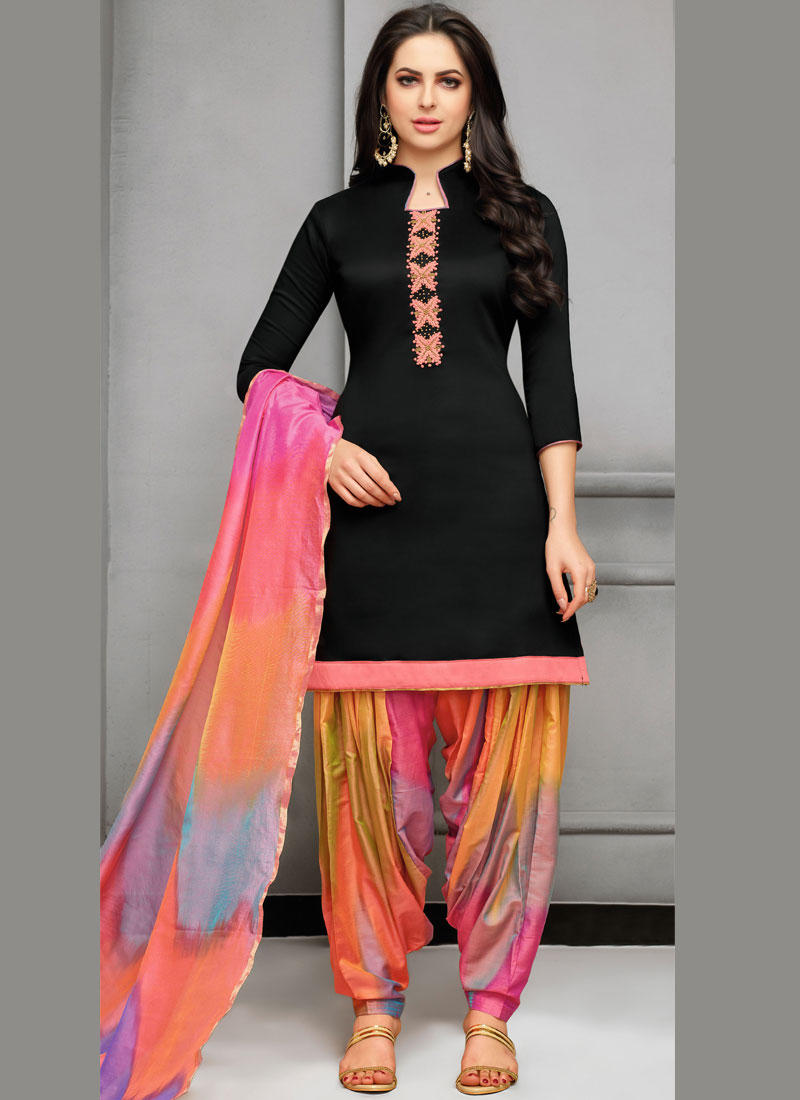 Art Silk Embroidered Black Designer Patiala Suit