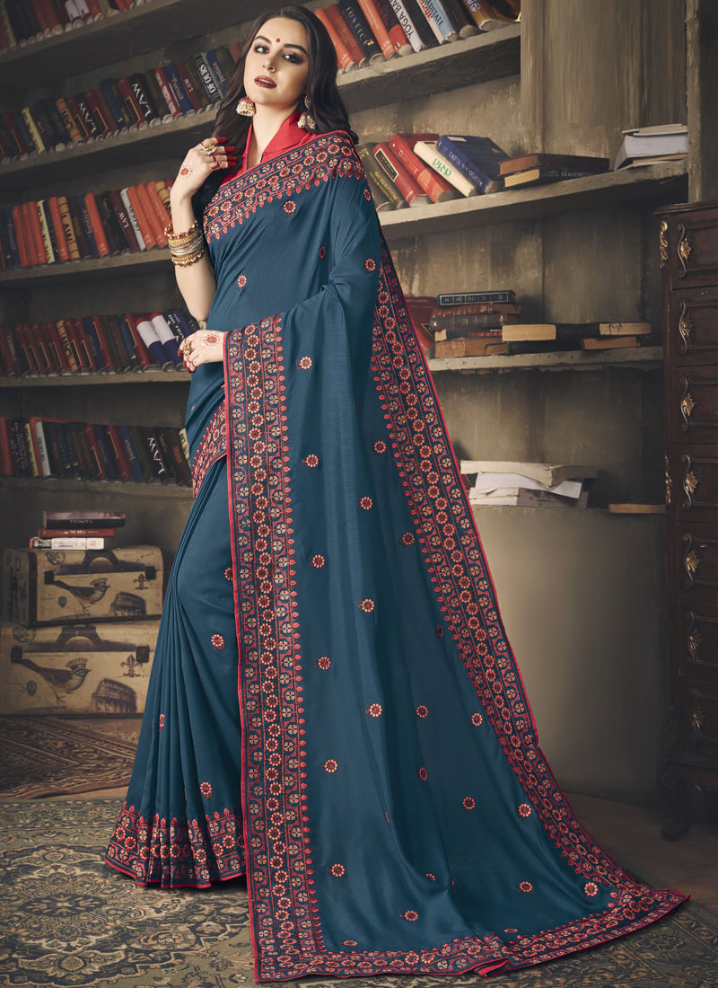 Art Silk Embroidered Blue Classic Saree