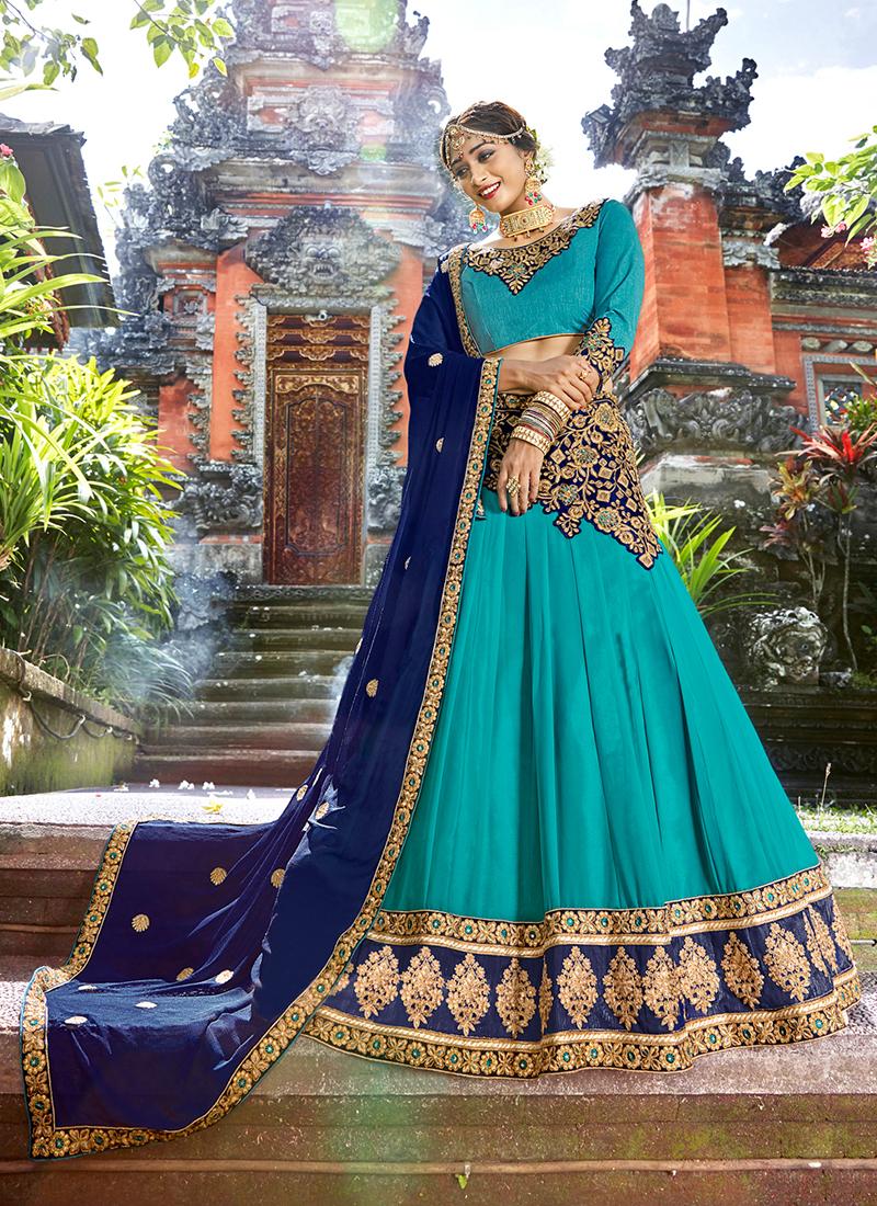 Art Silk Embroidered Designer Lehenga Choli in Turquoise