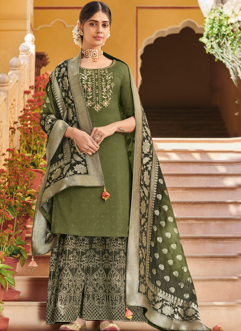2d6c613bb6 Art Silk Embroidered Green Designer Pakistani Suit. Hover to zoom