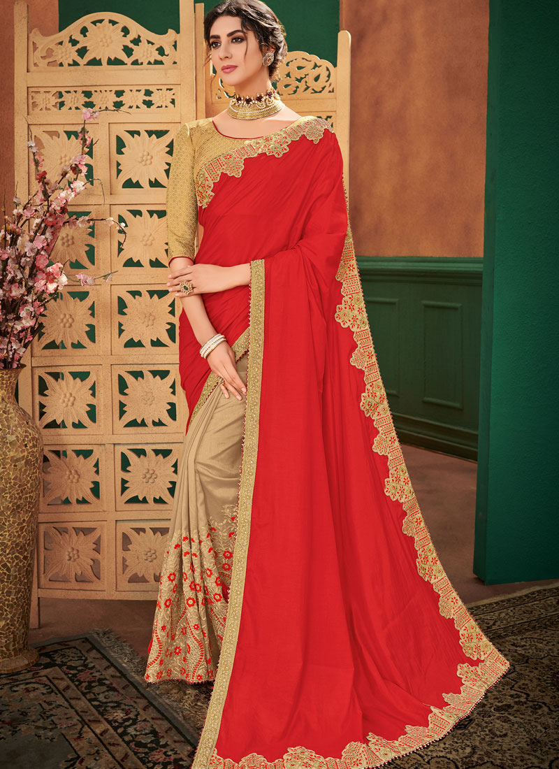 Art Silk Embroidered Half N Half  Saree in Beige and Red