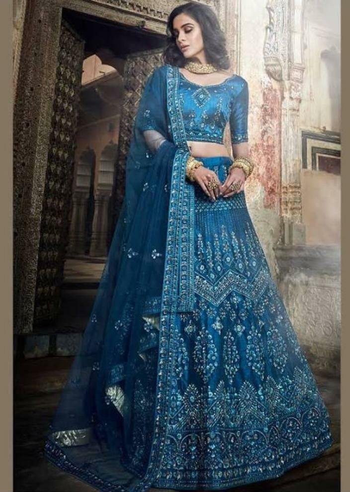 Art Silk Embroidered Lehenga Choli in Blue