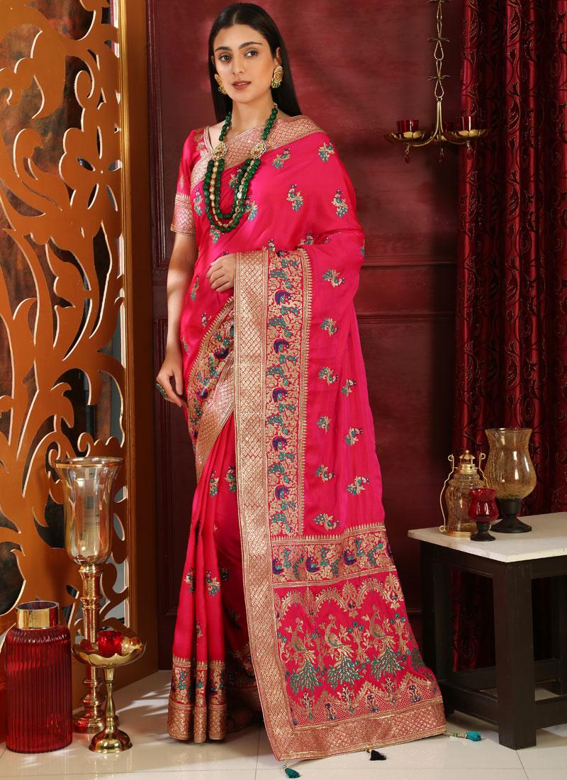 Art Silk Embroidered Magenta Classic Saree