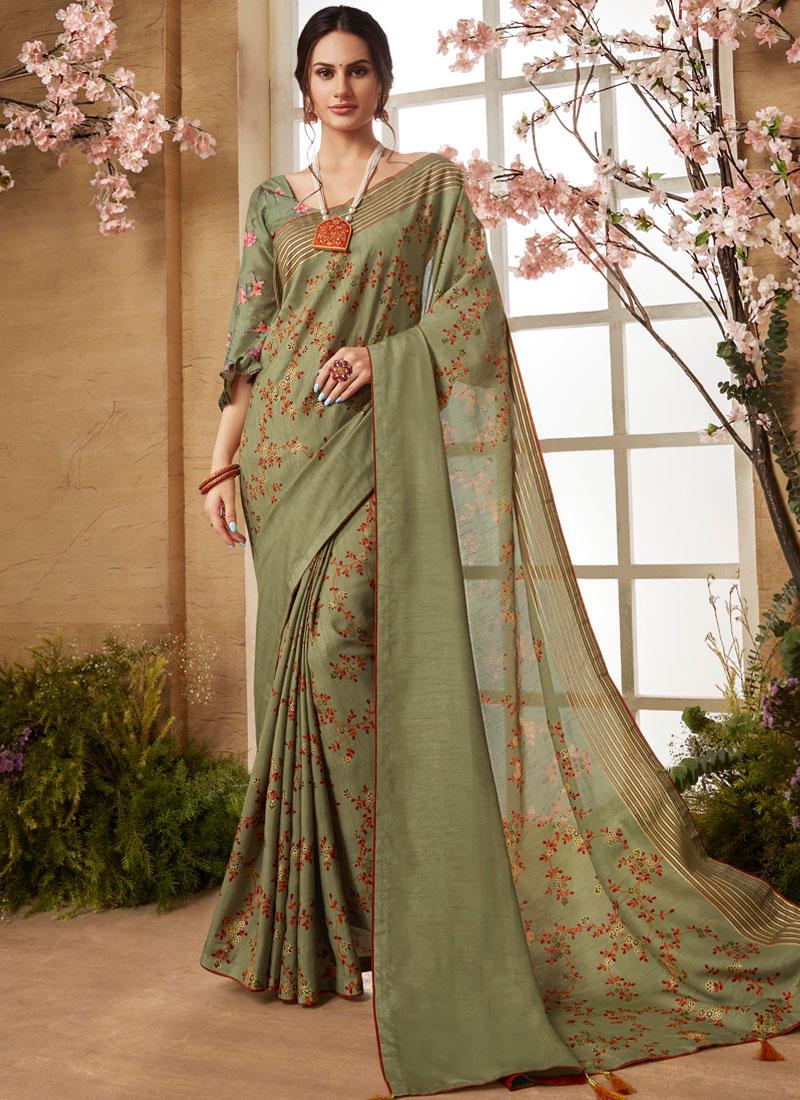 Art Silk Green Print Printed Saree