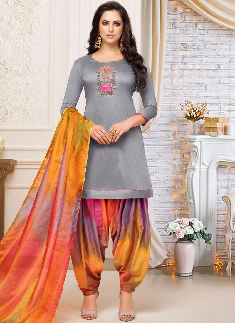 Art Silk Grey Embroidered Designer Patiala Suit