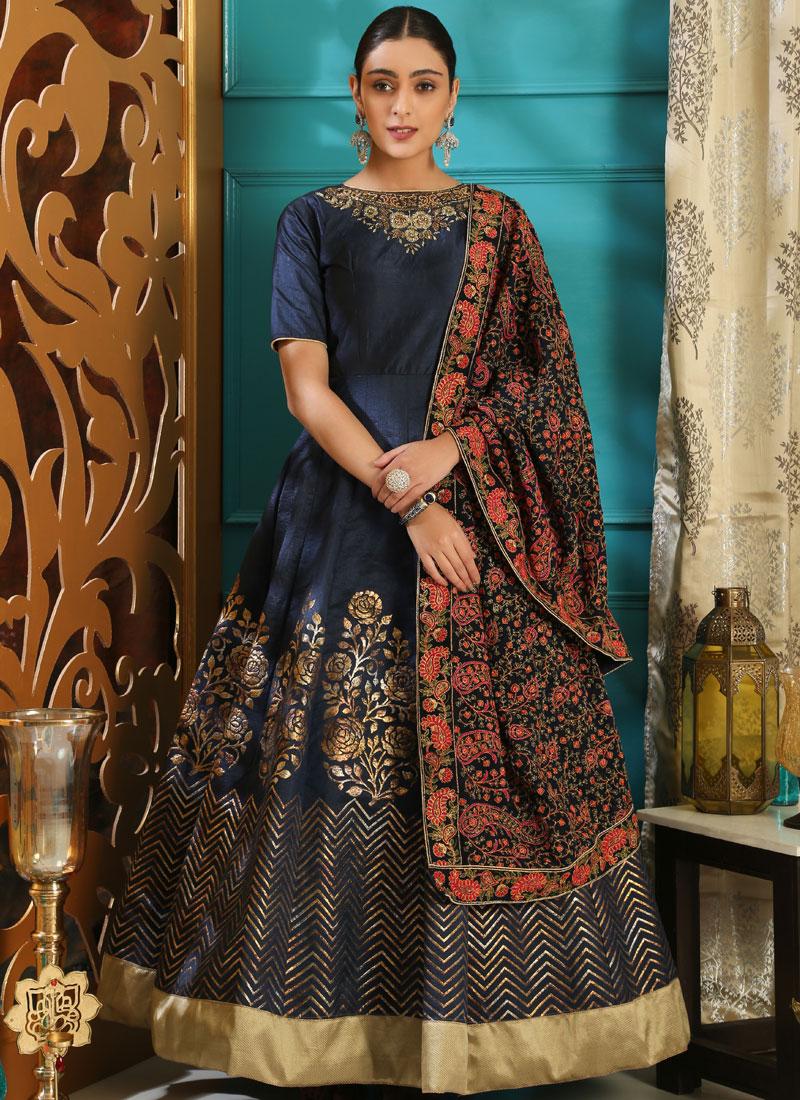 Art Silk Navy Blue Resham Designer Gown