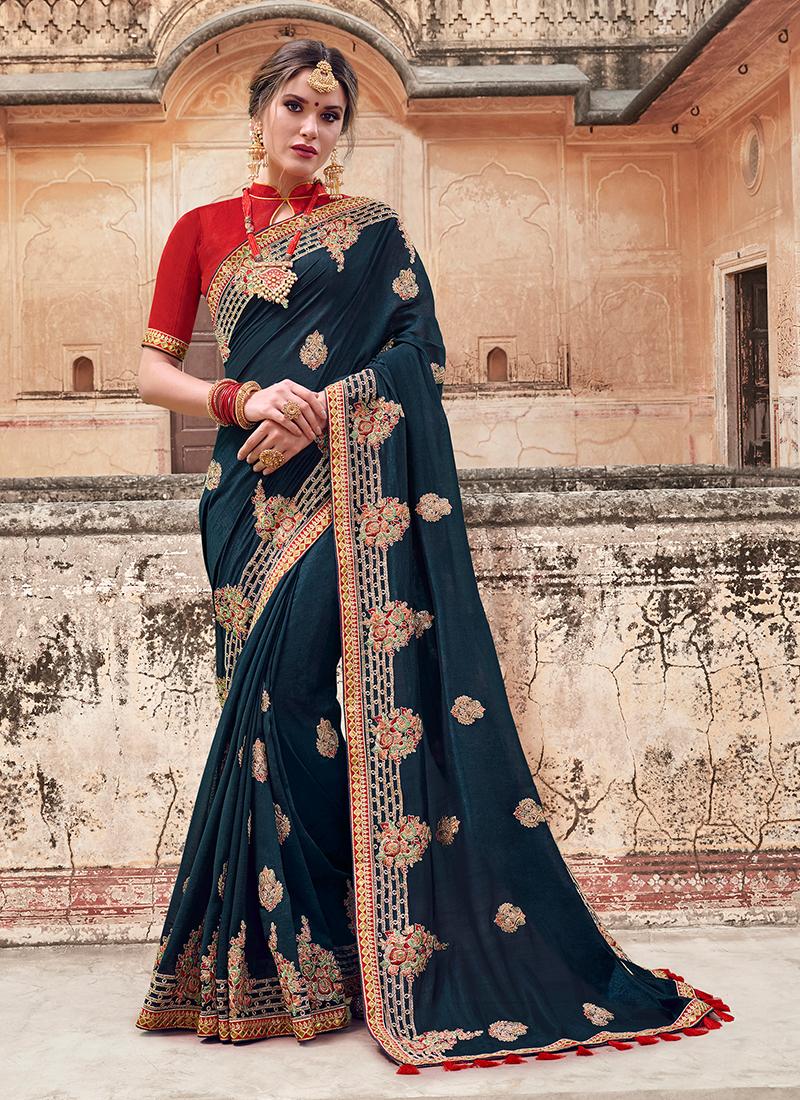 Art Silk Patch Border Designer Traditional Saree in Navy Blue