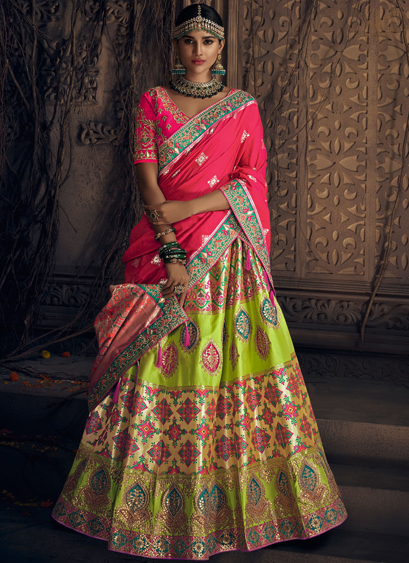 Art Silk Patch Border Lehenga Choli in Green and Pink