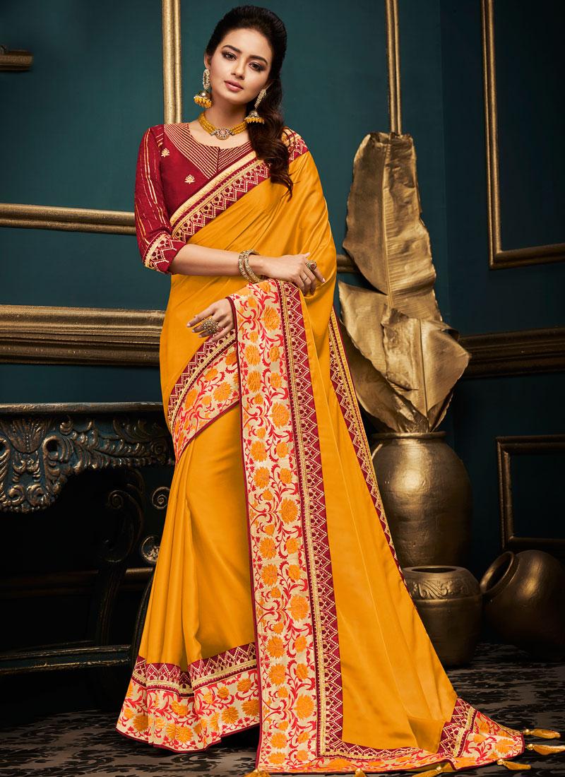 Art Silk Patch Border Traditional Designer Saree in Orange