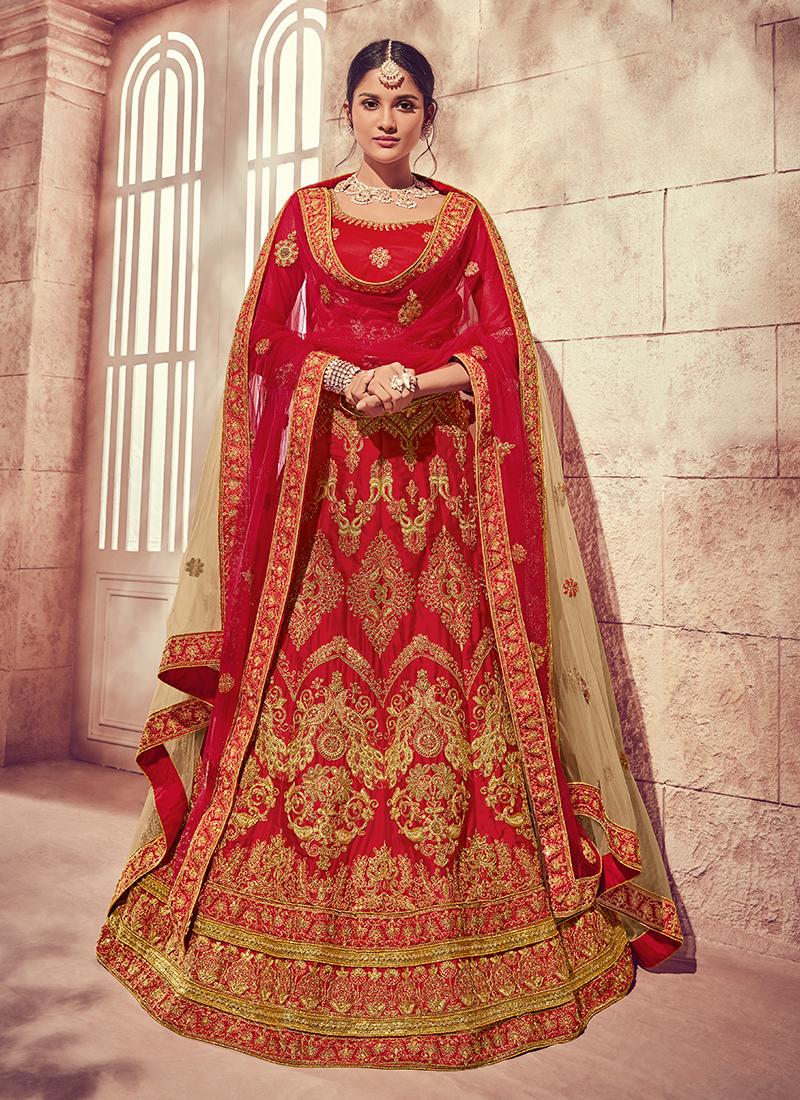 b571c43498 Art Silk Red Designer Lehenga Choli. Hover to zoom