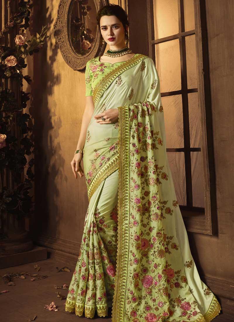 Art Silk Resham Traditional Designer Saree in Green