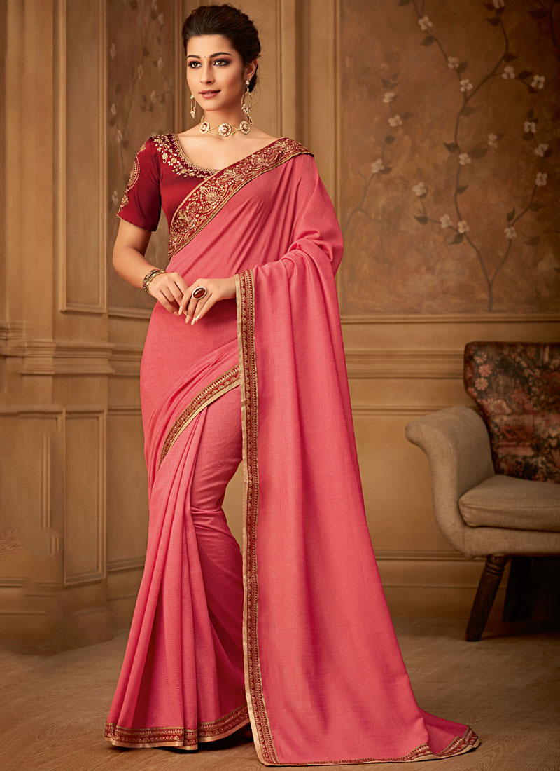 Art Silk Trendy Saree in Pink